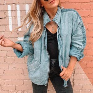 Free People Denim Dolman Quilted Knit Jacket XS